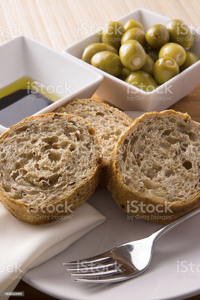 Bread and Olives royalty-free stock photo