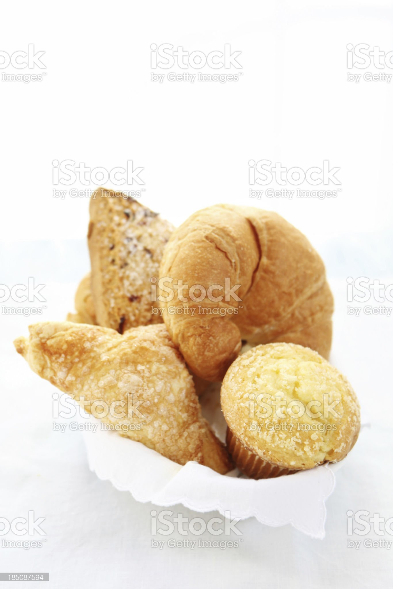 bread and pastry basket royalty-free stock photo