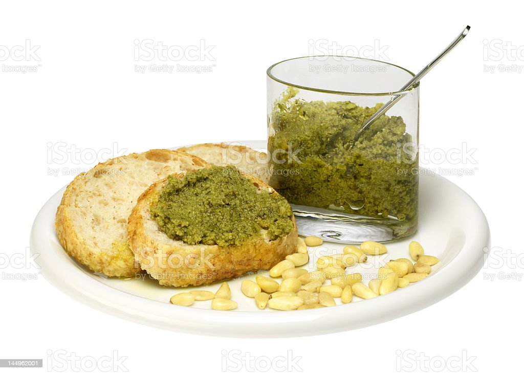 bread and pesto sauce (isolated on white) royalty-free stock photo