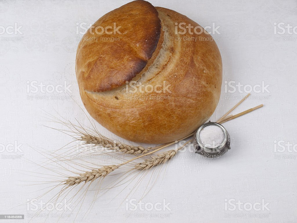 bread and salt. Russian tradition. stock photo