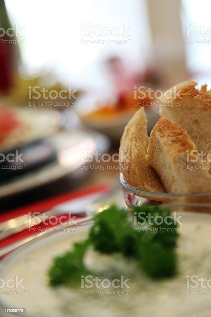 Bread and Tsatsiki stock photo