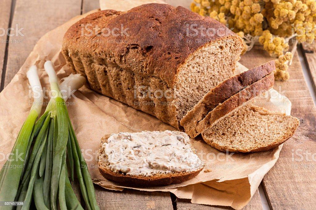 Bread and vegeterian Sandwich stock photo