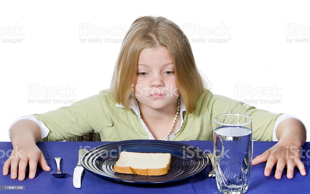 Bread and Water Dinner royalty-free stock photo