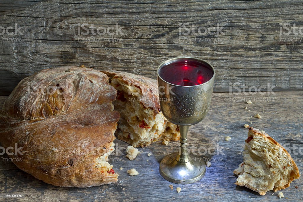 Bread and wine holy communion sign easter symbol stock photo