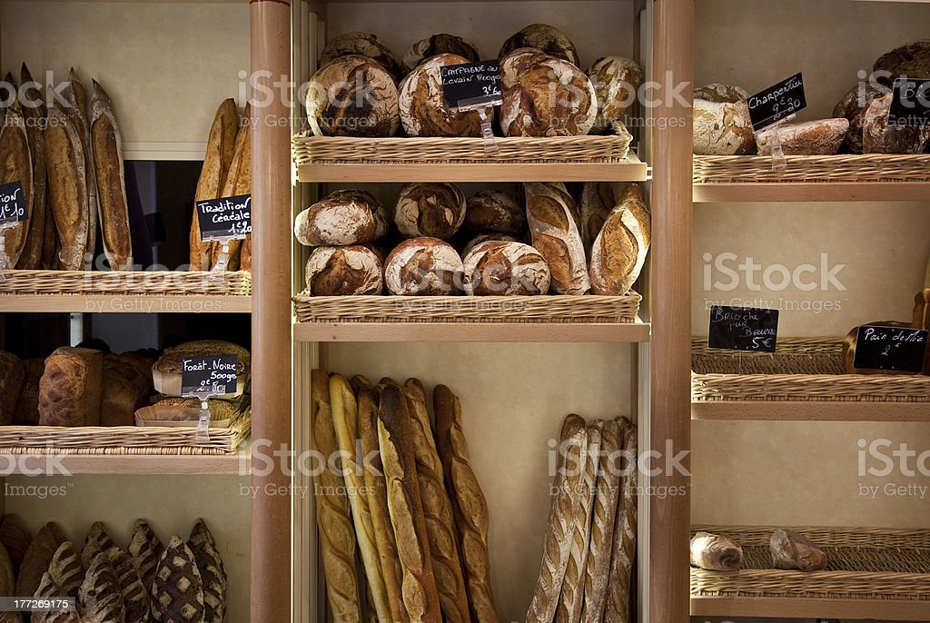 Bread at a French bakery stock photo