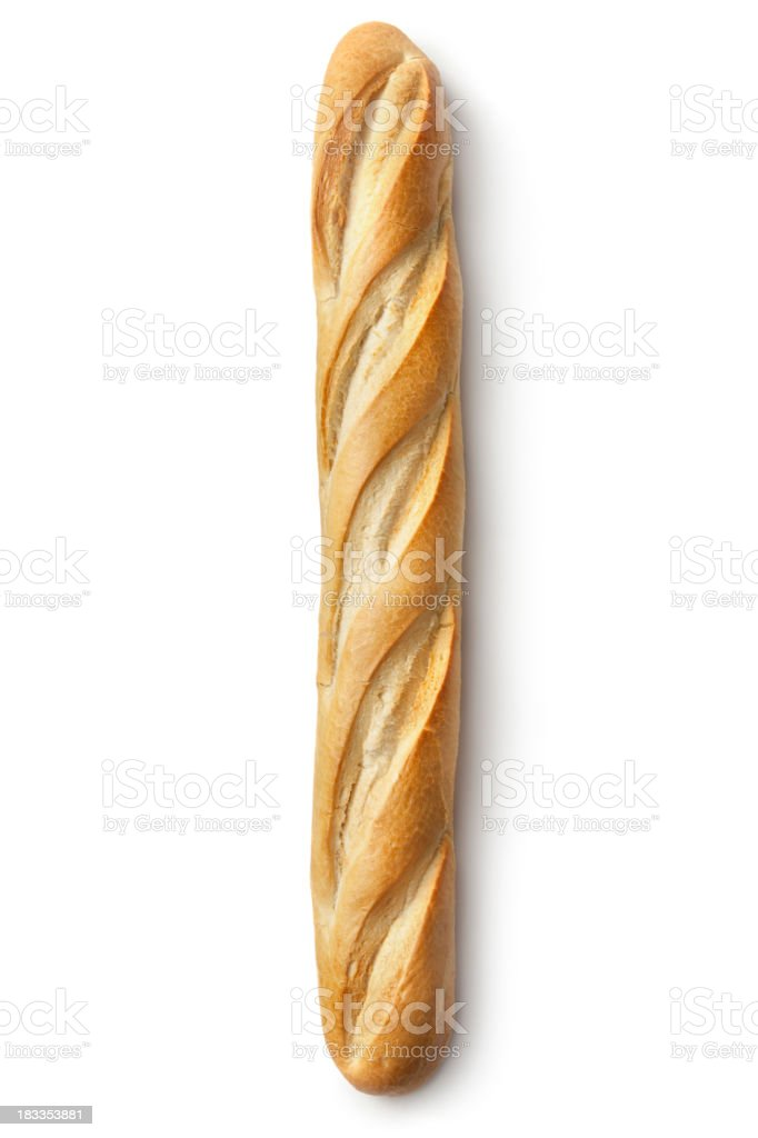Bread: Baguette Isolated on White Background royalty-free stock photo