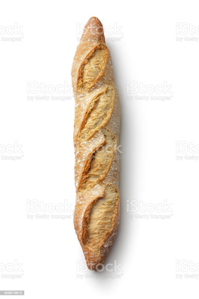 Bread: Baguette Isolated on White Background stock photo