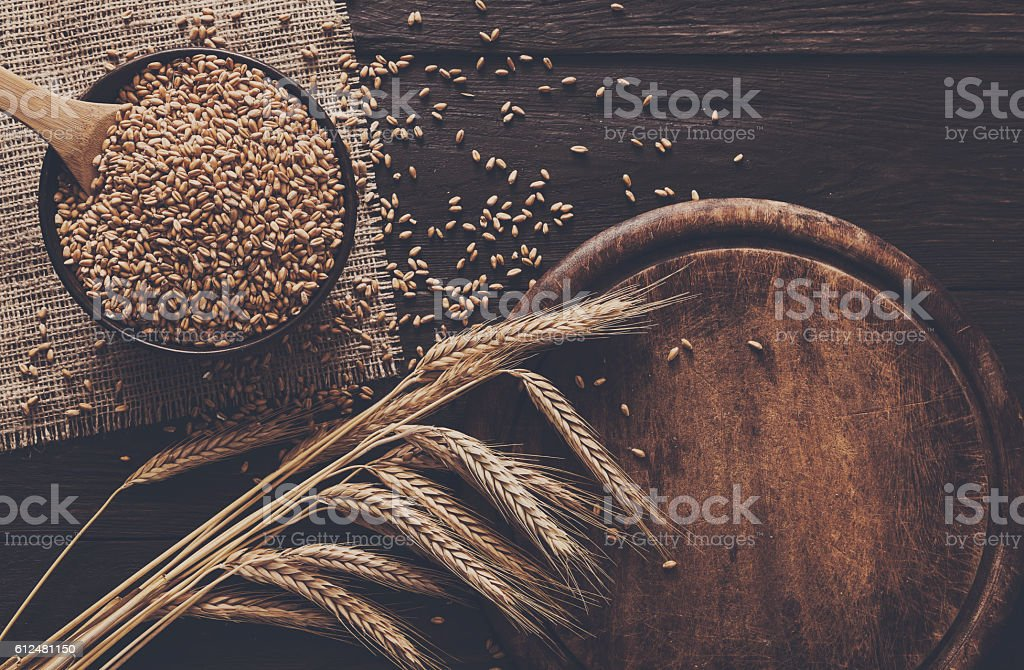 Bread bakery background, grain and wheat ears stock photo