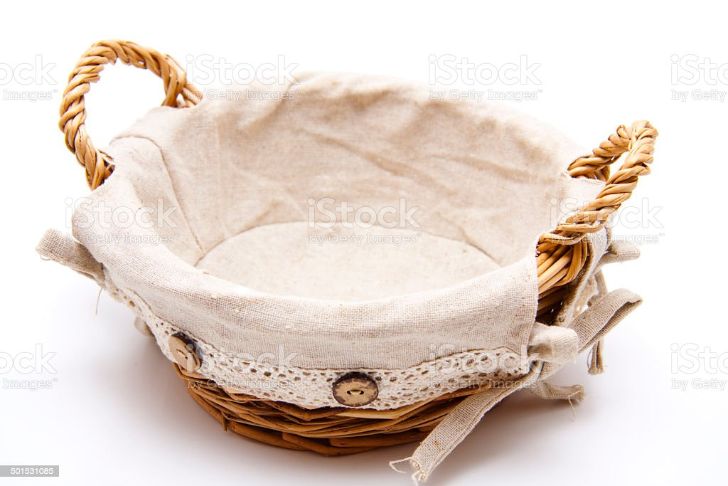 Bread basket with cloth stock photo