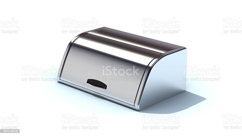Bread box, metal bread case isolated on white background stock photo
