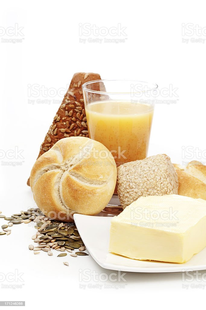 bread, butter and juice royalty-free stock photo