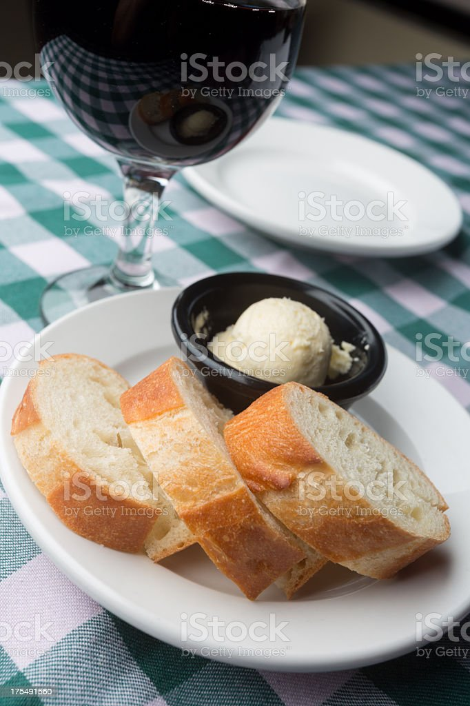 Bread, Butter and Red Wine stock photo