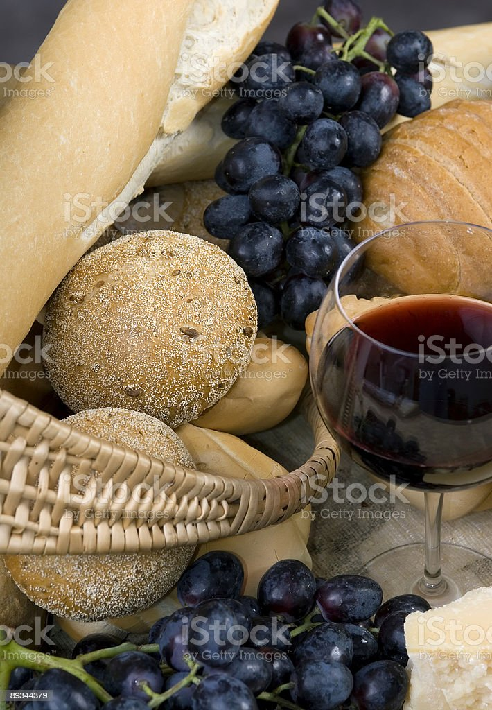 Bread Cheese and Wine 2 royalty-free stock photo