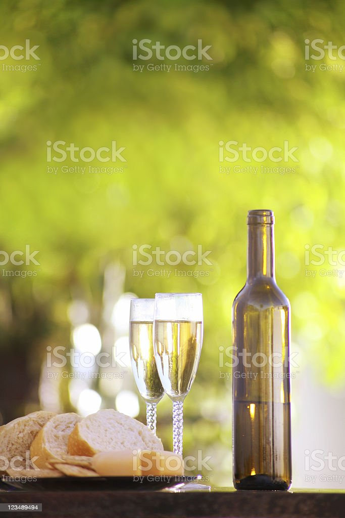 bread cheese and wine royalty-free stock photo