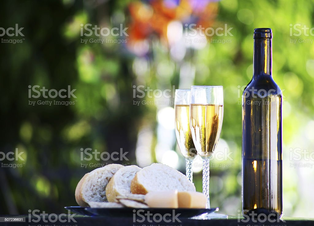 Bread Cheese and Wine stock photo