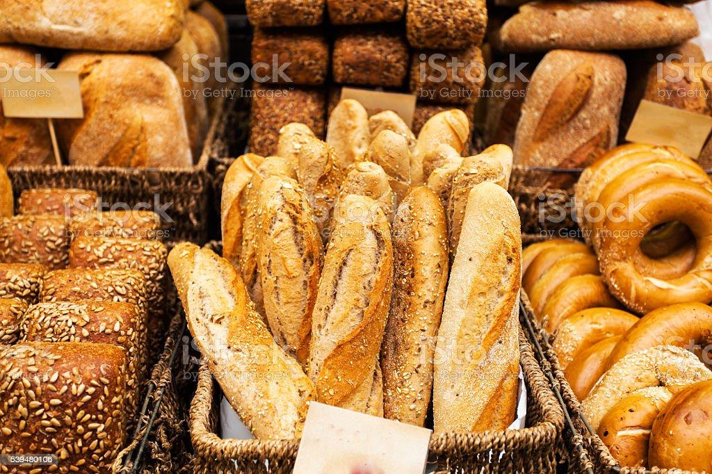 Bread counter at the Mahane Yehuda Market in Jerusalem. stock photo