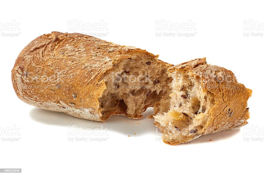 Bread cracked on white stock photo