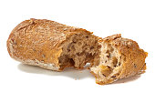 Bread cracked on white