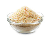 Bread crumbs in a glass bowl