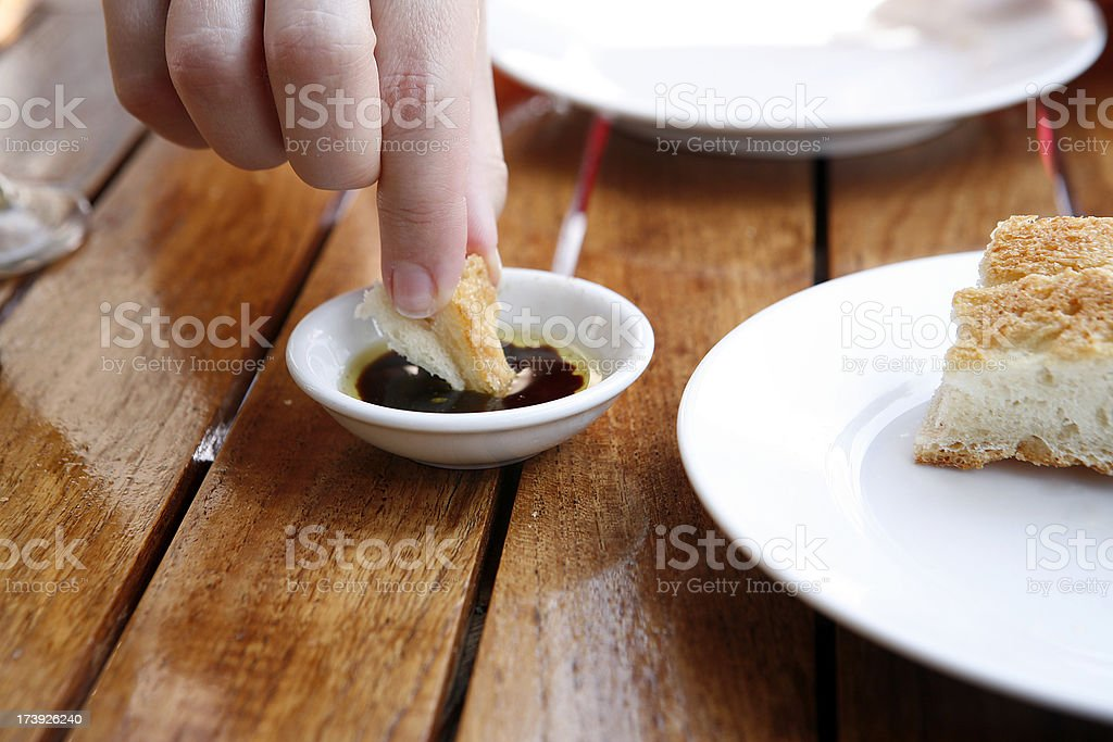 Bread Dipping royalty-free stock photo