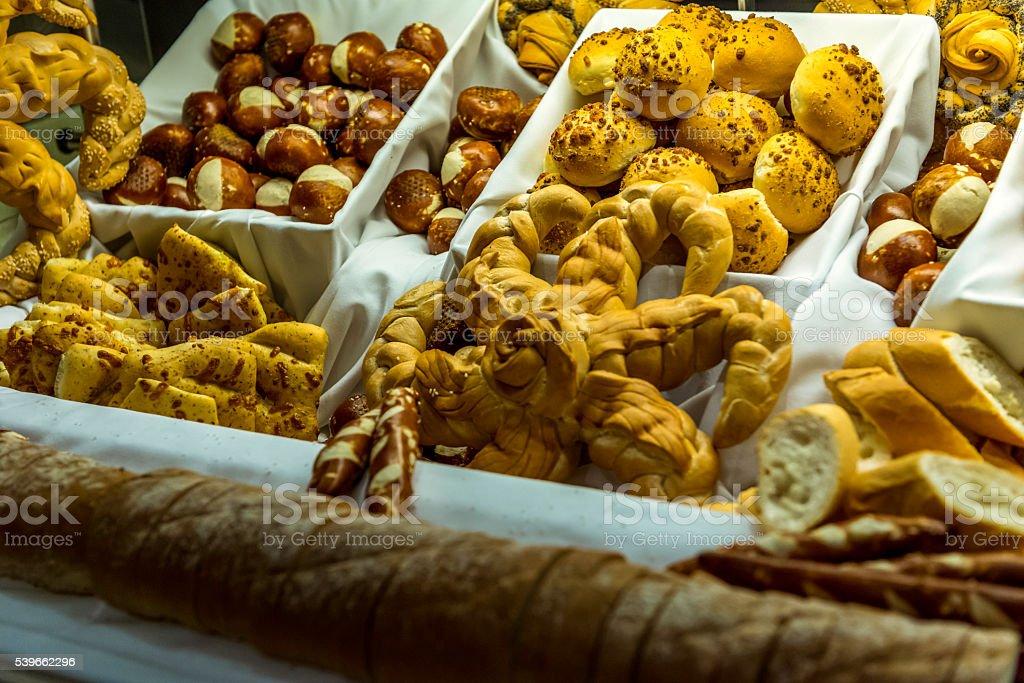 Bread display at buffet stock photo