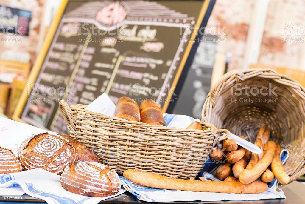 Bread display at the market stock photo