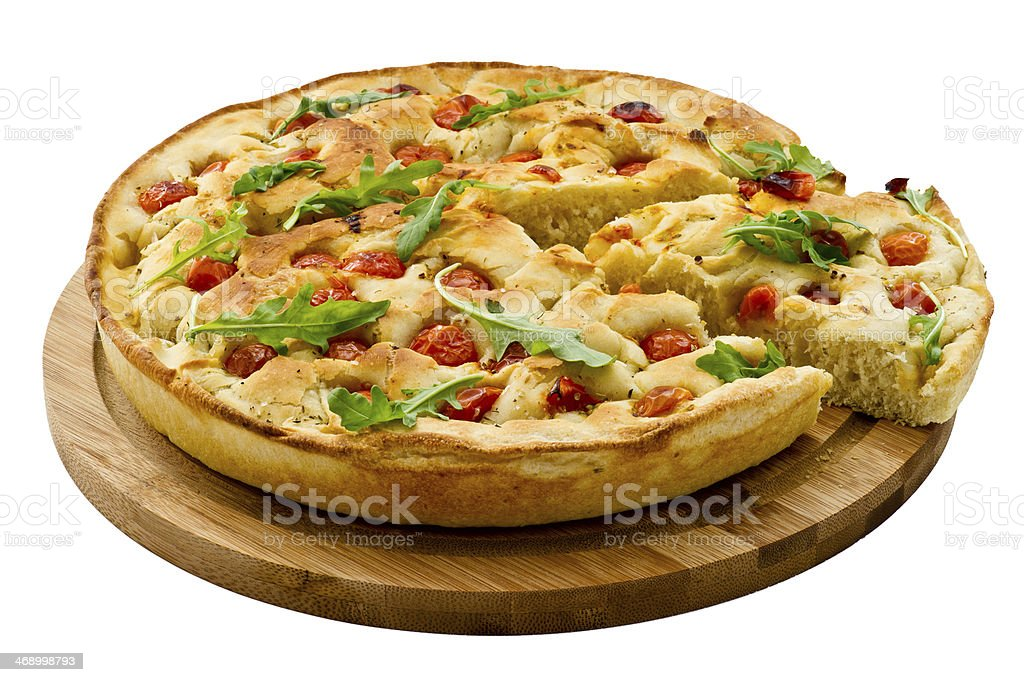 Bread dough Focaccia with salad 'rucola'. Italian Food royalty-free stock photo