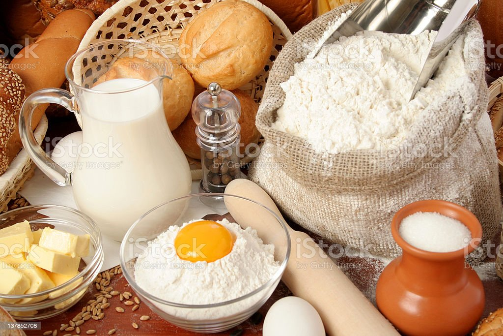 Bread, flour, milk, butter, eggs royalty-free stock photo