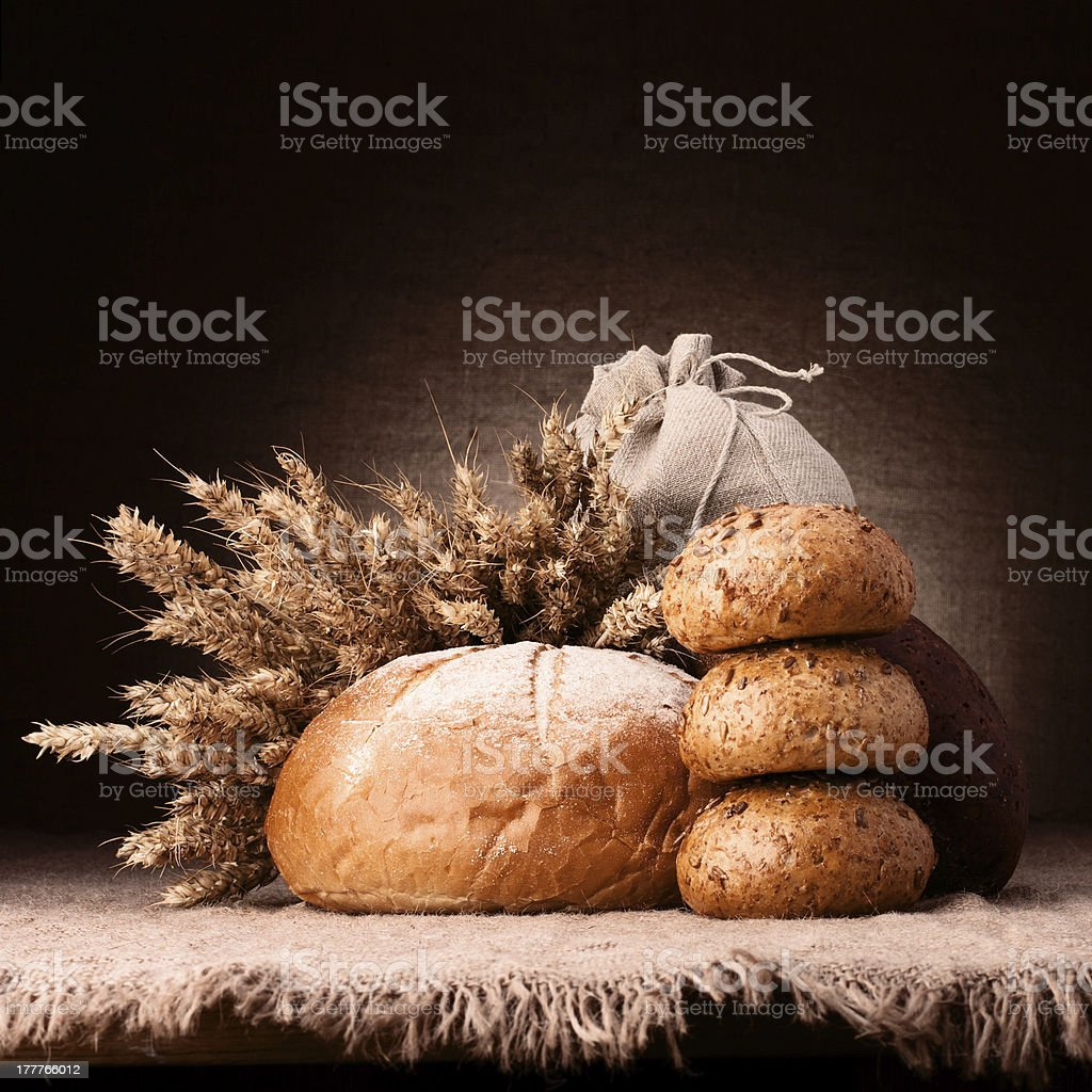 Bread, flour sack and ears bunch still life royalty-free stock photo