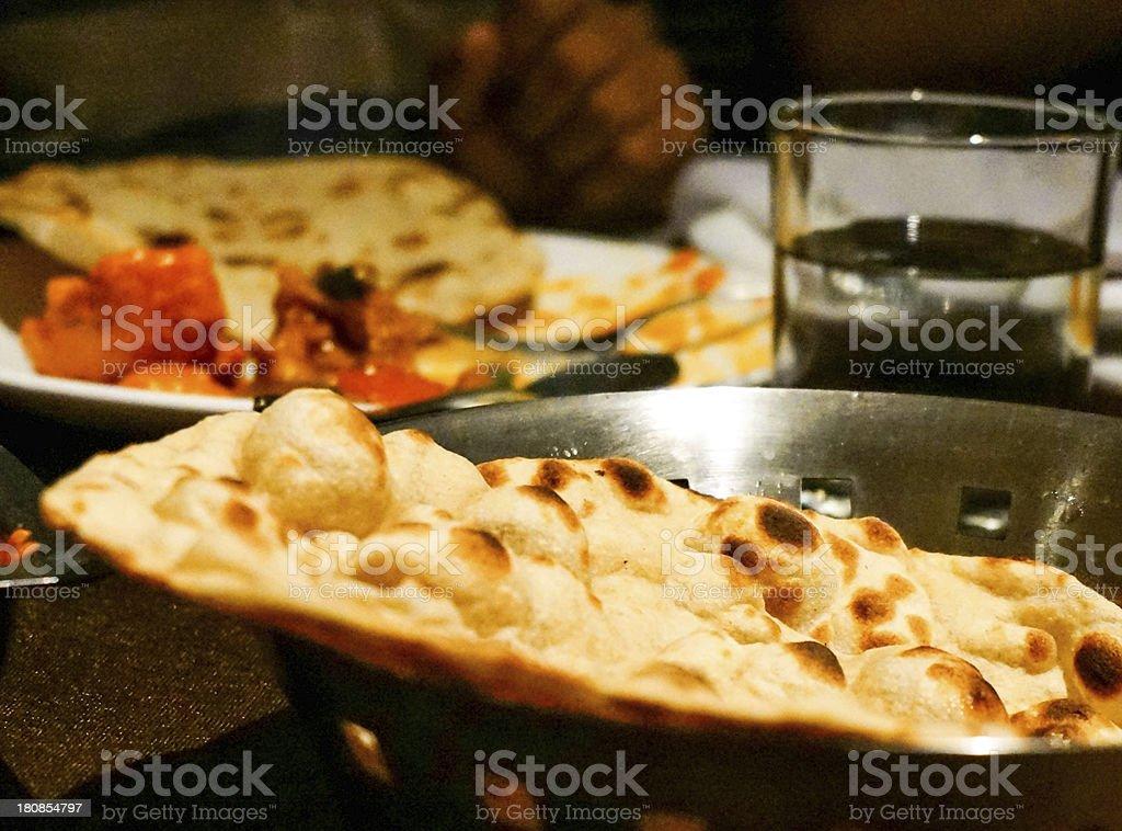 Bread for a north indian meal ( tandoori roti) stock photo