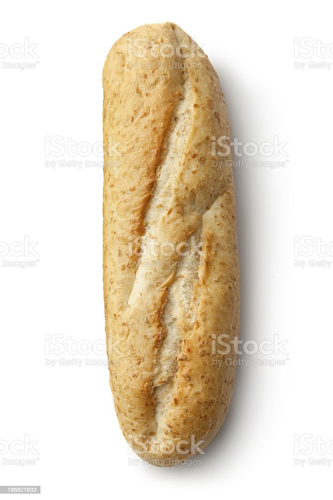 Bread: French Bread Roll Isolated on White Background royalty-free stock photo