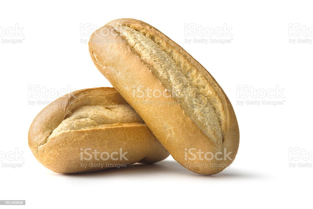 Bread: French Bread Rolls Isolated on White Background stock photo