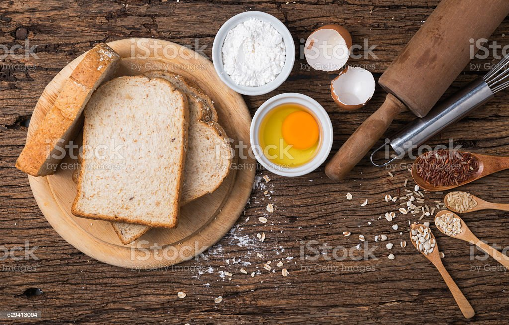 bread grains and ingredient stock photo