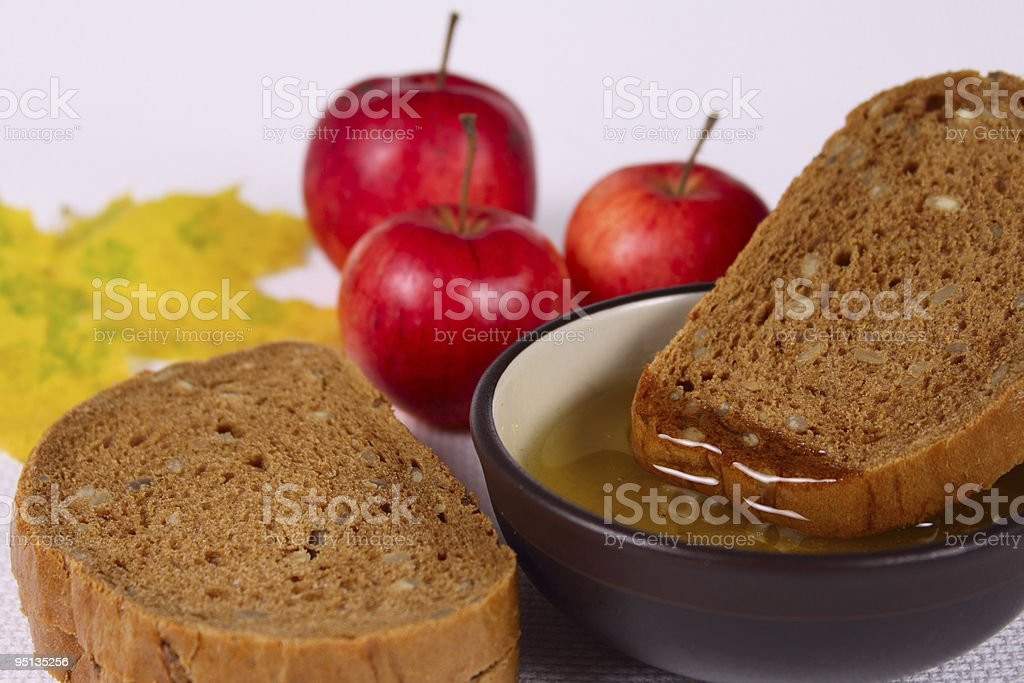 Chleb, miód i jabłka zbiór zdjęć royalty-free