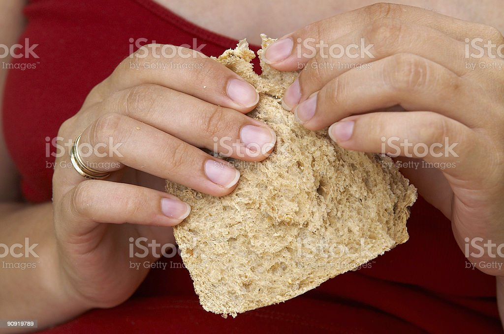 Bread in hands royalty-free stock photo