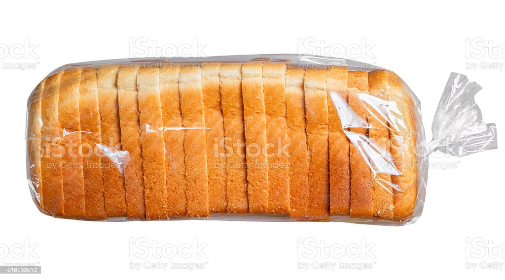 Bread in plastic bag. stock photo