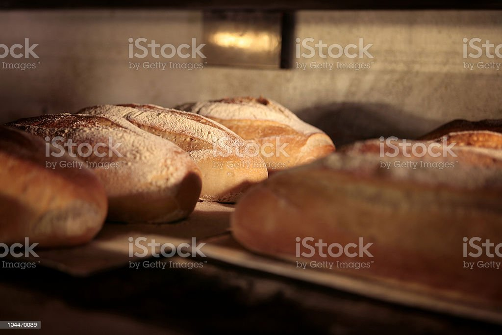 Bread in the Oven royalty-free stock photo