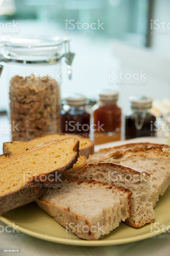 Bread, jam... breakfast. stock photo