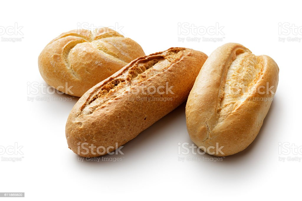 Bread: Kaiser Roll and Pistolet Isolated on White Background stock photo