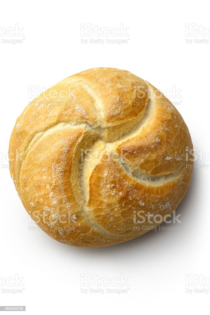 Bread: Kaiser Roll Isolated on White Background stock photo