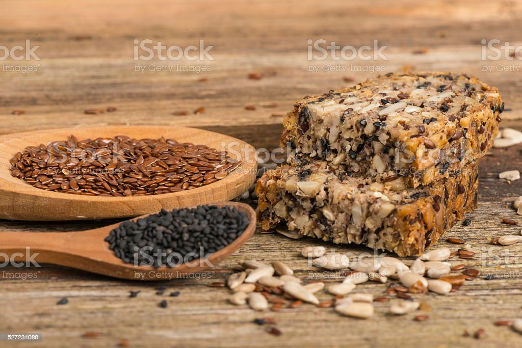 Bread made of healthy seed and nut stock photo