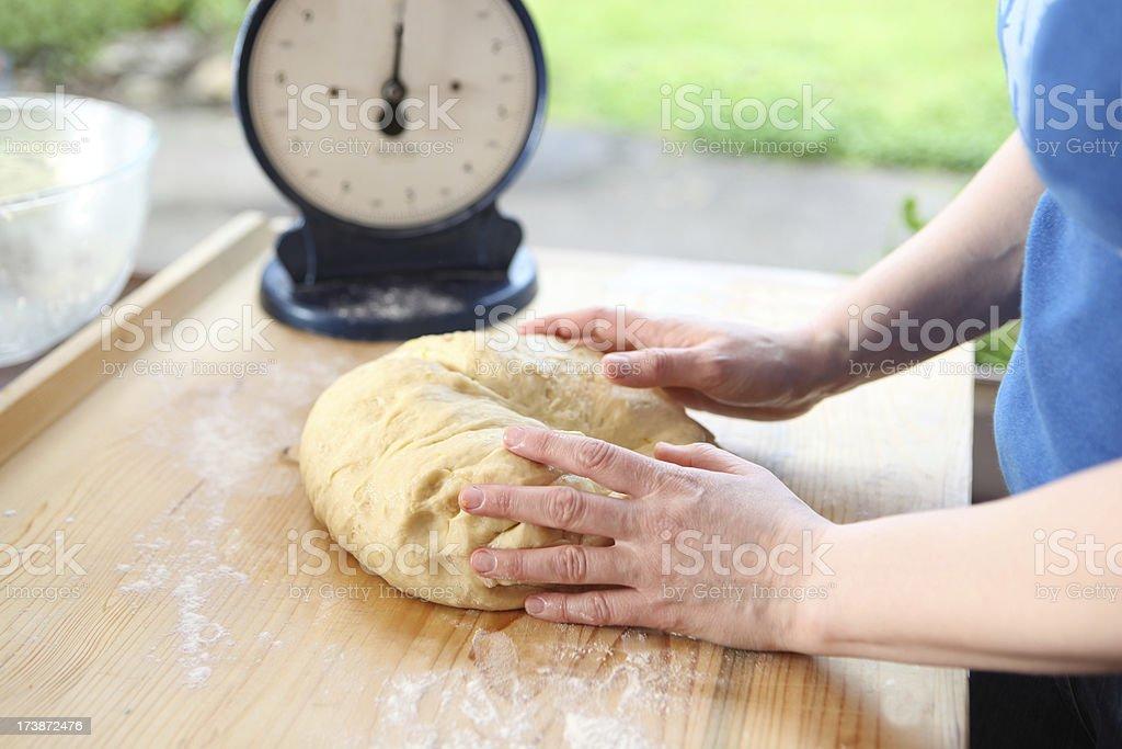 bread making series, kneading royalty-free stock photo
