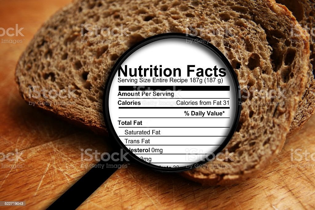 Bread nutrition facts stock photo