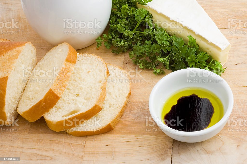 Bread, oil and vinegar, brie cheese royalty-free stock photo