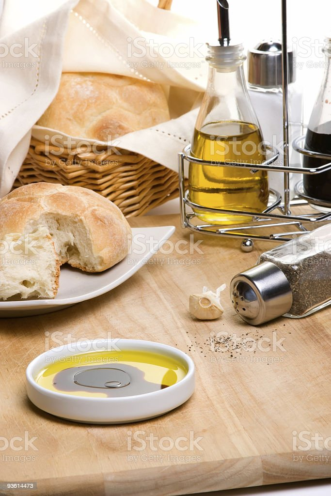 Bread olive oil and spices royalty-free stock photo