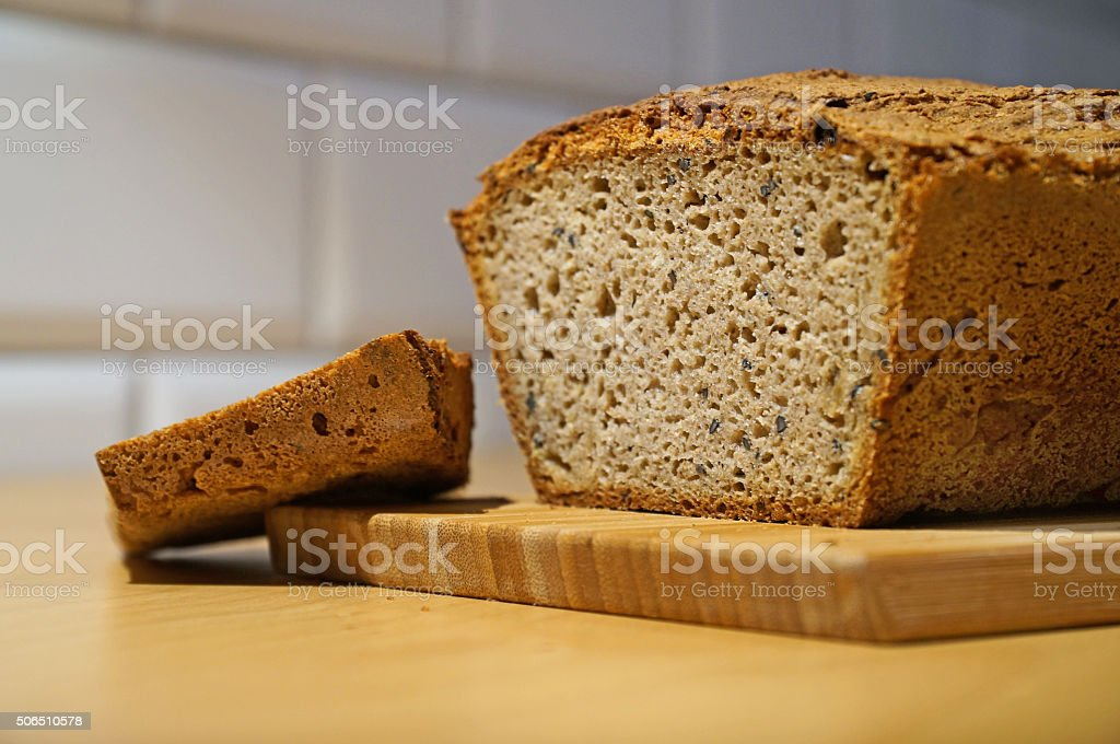 Bread on a kitchen table stock photo