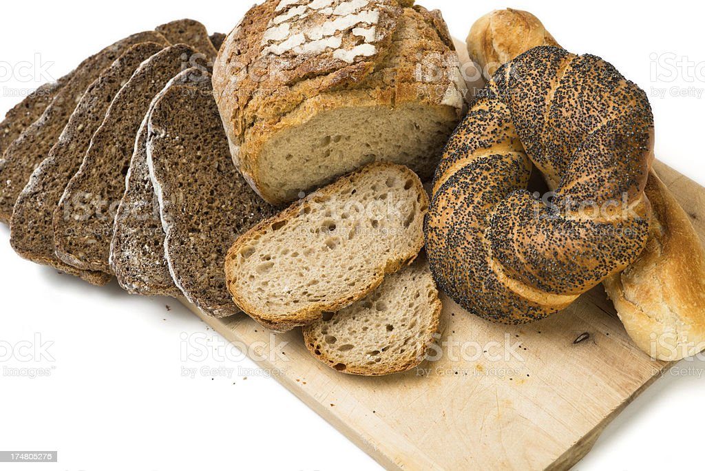 bread on a wooden board royalty-free stock photo