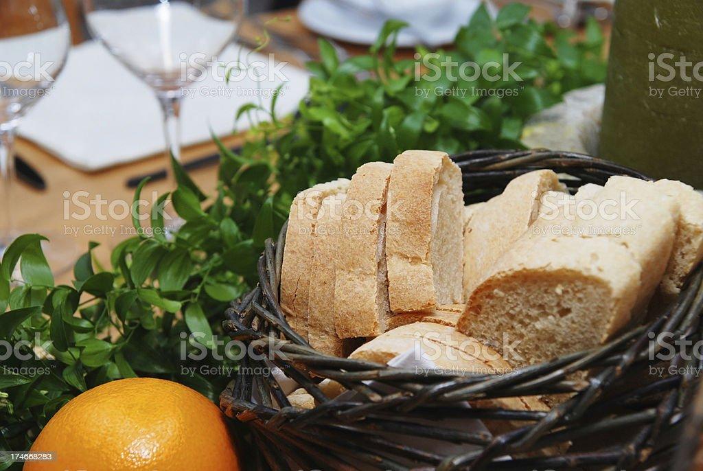 bread on luxury table stock photo