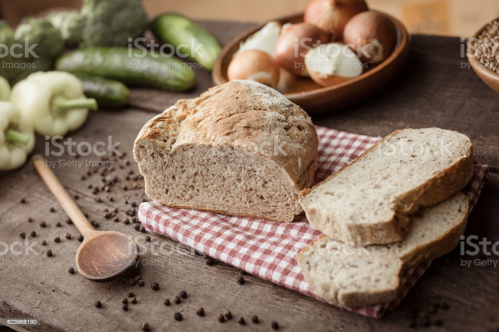 Bread on wooden table stock photo
