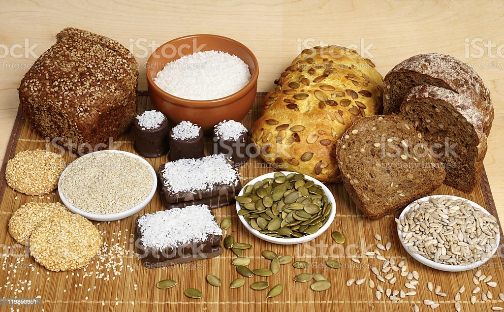 Bread, pastry, candies and ingredients royalty-free stock photo
